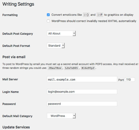 Writing Settings WordPress