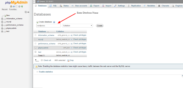 how to create database in localhost phpmyadmin
