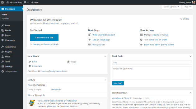 Install WordPress Localhost-dashboard