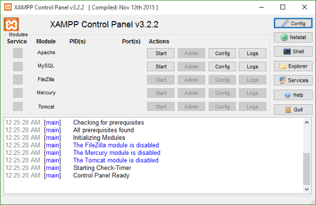 Install WordPress Localhost xampp-control-panel