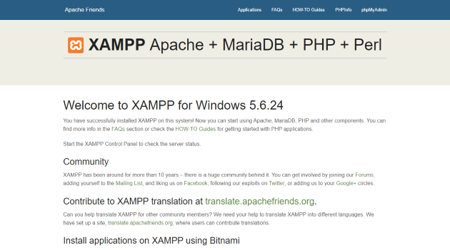 Install WordPress Localhost xampp-start-page