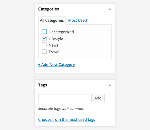 categories tags WordPress