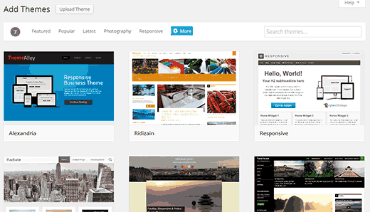 add theme wordpress new