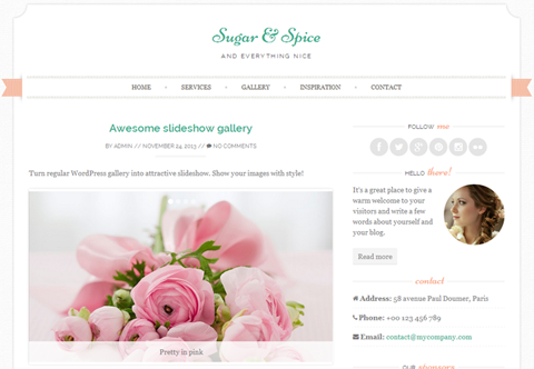 template wordpress free sugar-and-spice-free wedding wordpress theme