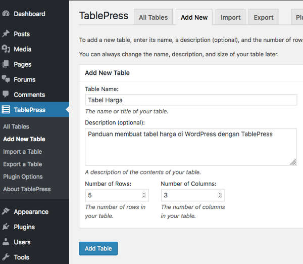 Membuat Tabel di WordPress Add New