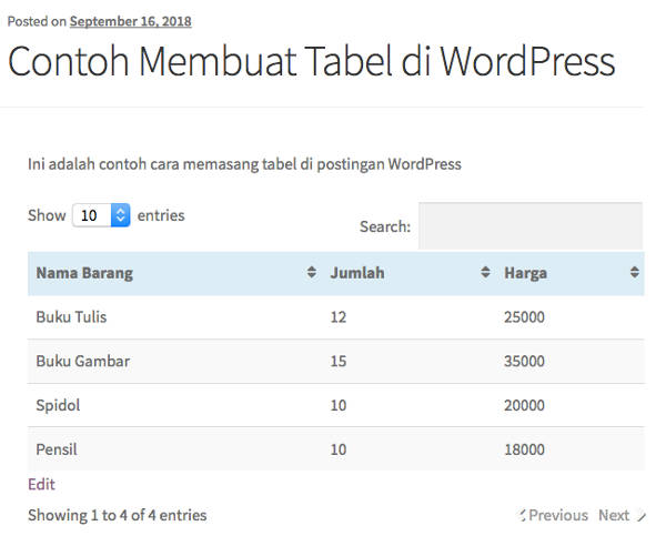 Membuat Tabel di WordPress Contoh tabel