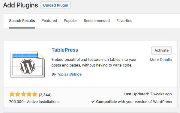 Membuat Tabel di WordPress Install TablePress
