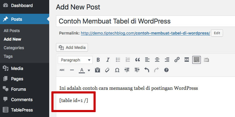 Membuat Tabel di WordPress Pasang Tabel