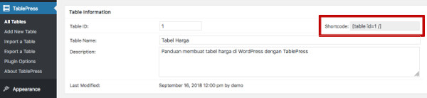Membuat Tabel di WordPress