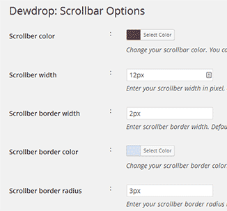 custom scrollbar settings wordpress