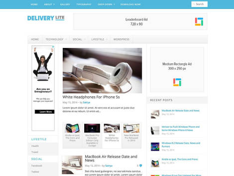 Delivery lite free magazine style wordpress theme