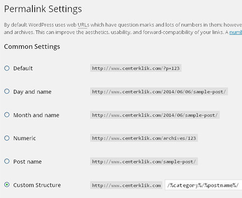 permalink settings wordpress seo