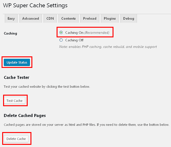 easy settings wp super cache