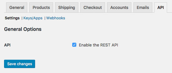 API settings WooCommerce