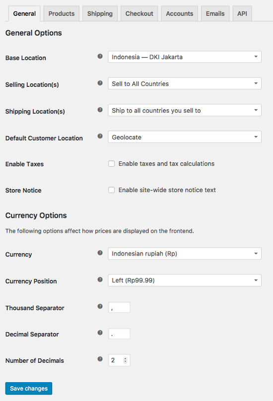General Settings WooCommerce