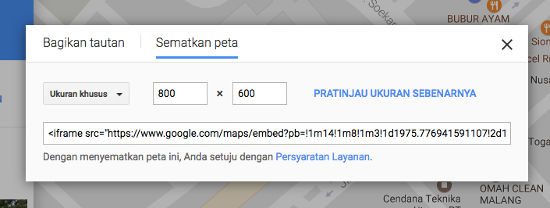 Pengaturan Google Maps