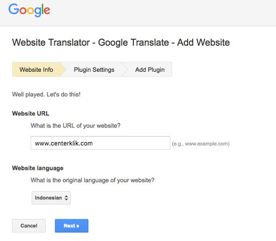 Website Translate Google