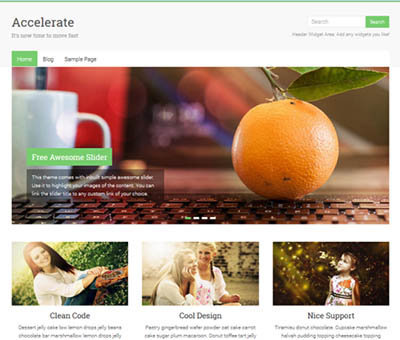 accelerate free wordpress theme