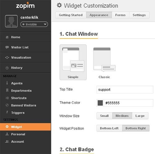 dashboard zopim