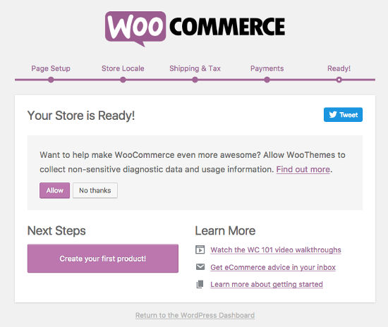 finish install woocommerce