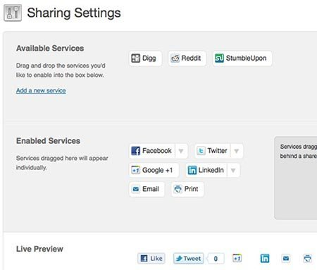 Install Plugin Jetpack sharing-settings