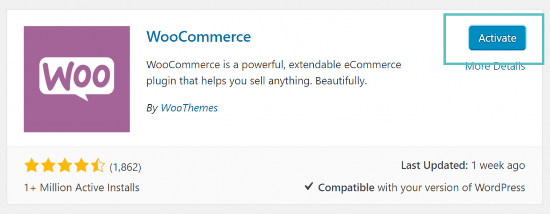 woocommerce activate