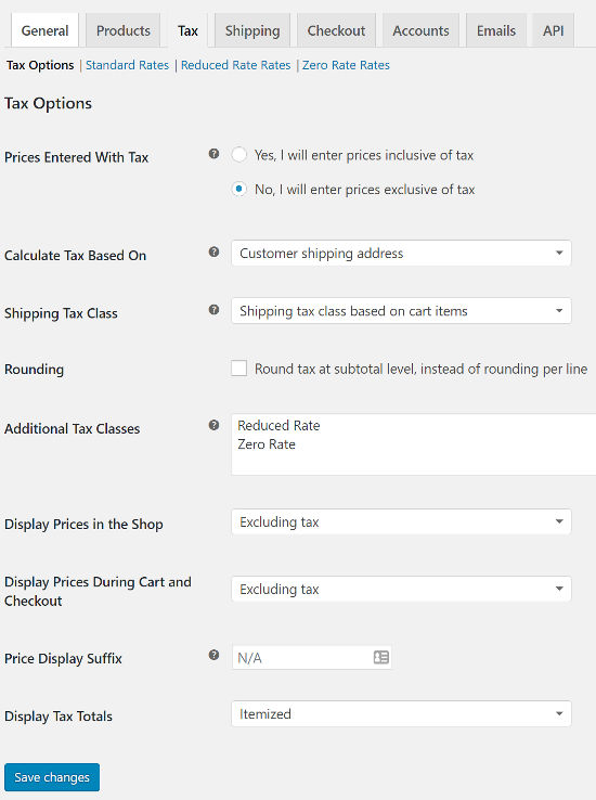 woocommerce tax setting