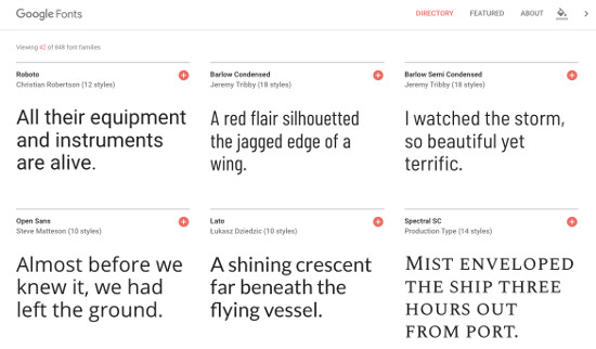 Google Fonts Website