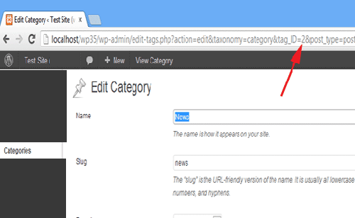 mencari category id wordpress