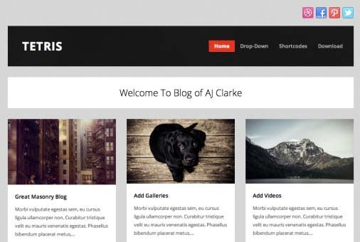tetris theme wordpress blog free
