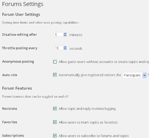 forum settings bbpress wordpress