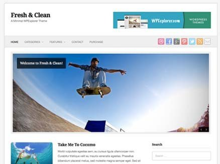 free themes wordpress fresh clean blogger