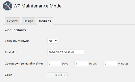 wp maintenance mode countdown WordPress settings