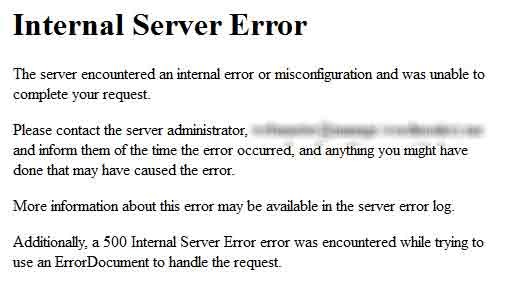 internal server error wordpress