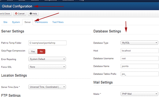 joomla-db-settings configuration