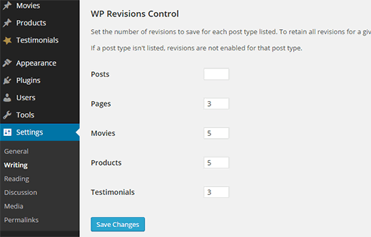 wordpress revision control settings