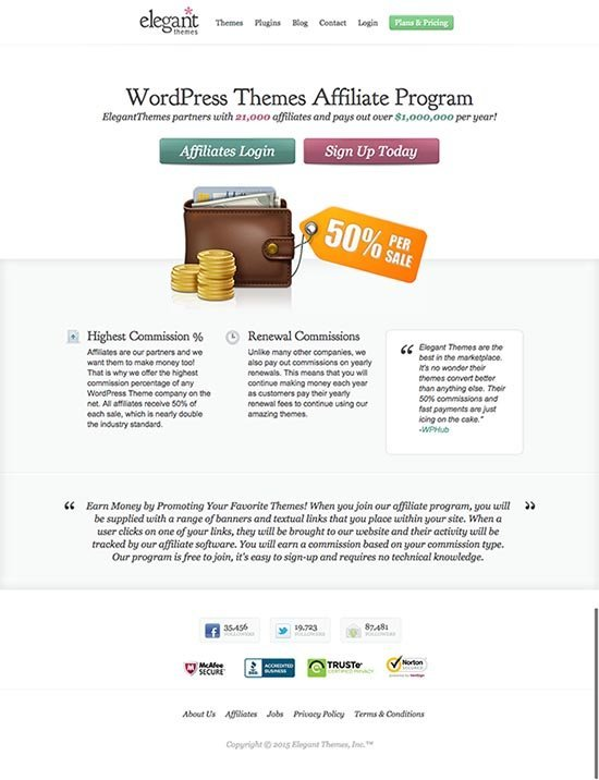 Elegant Themes Affiliate Program Landing Page