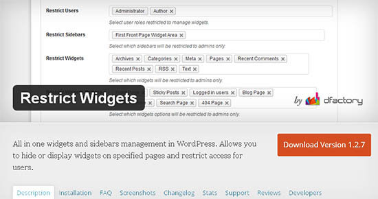 restrict widgets