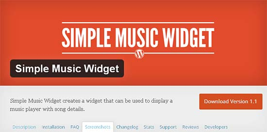 simple music widget memasang music player wordpress