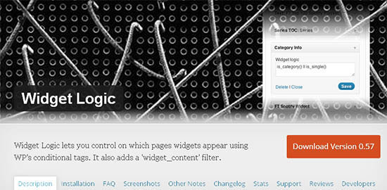 widget logic wordpress
