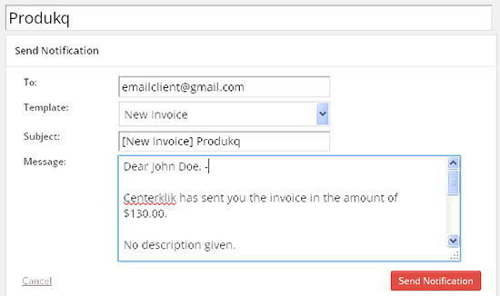email invoice