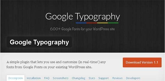 google typography plugin wordpress