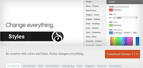 styles plugin wordpress