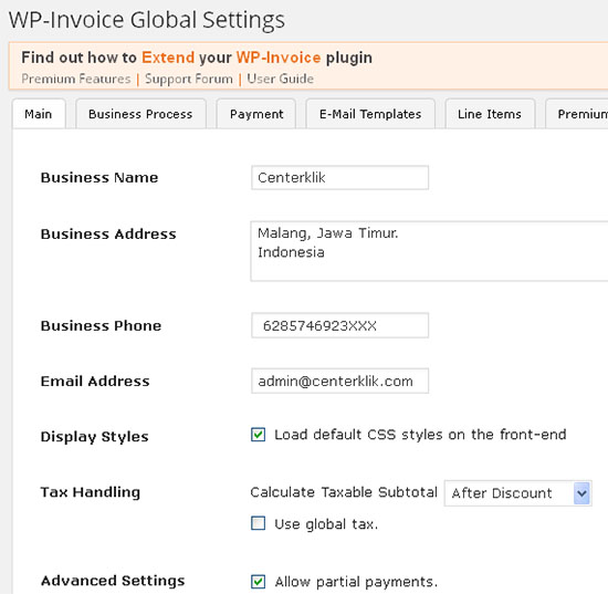 wp invoice settings main