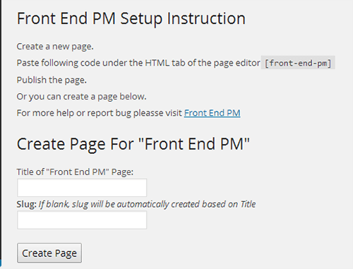 front end setting page wordpress
