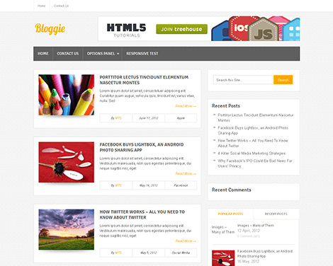 theme wordpress bloggie free