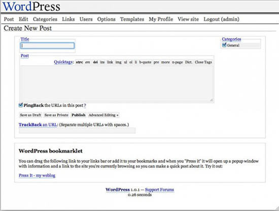 WordPress versi 1.0