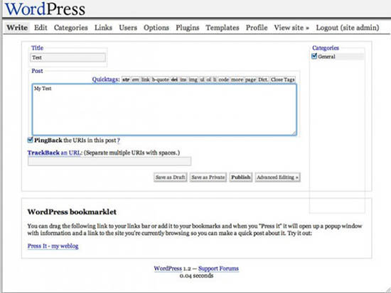 WordPress versi 1.2