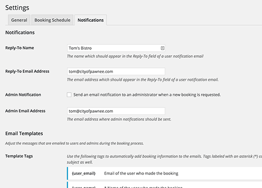 booking notifications settings
