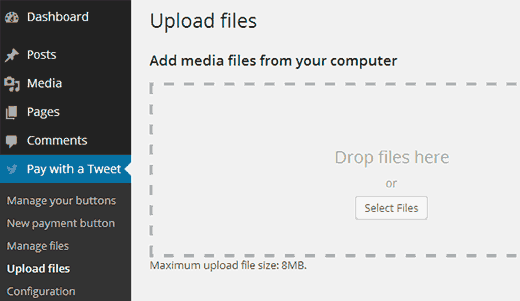 pay with tweet upload files